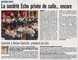 Les difficultés rencontrées par la Société Musicale Echo